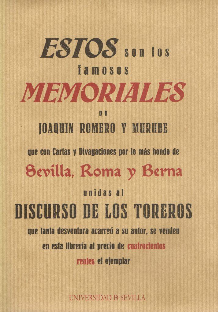 Estos son los famosos memoriales de Joaquín Romero y Murube